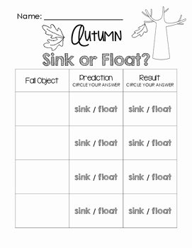 Sink or Float Worksheet Elegant Autumn Sink or Float Worksheet by Little Learning Lane