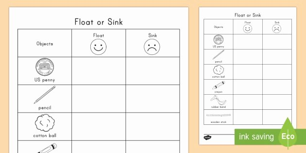 Sink or Float Worksheet Inspirational Float or Sink Worksheet Worksheet Physical Science