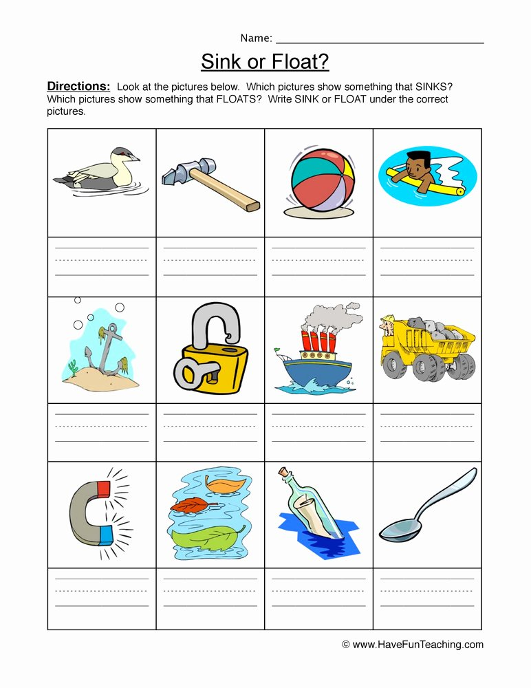 Sink or Float Worksheet Inspirational Sink Float Identify Worksheet