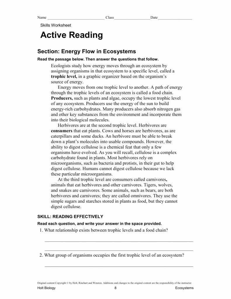 Skills Worksheet Active Reading Fresh Energy Flow In Ecosystems