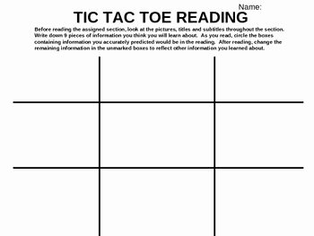 Skills Worksheet Active Reading Fresh Tic Tac toe Reading Strategy Power Point Worksheet