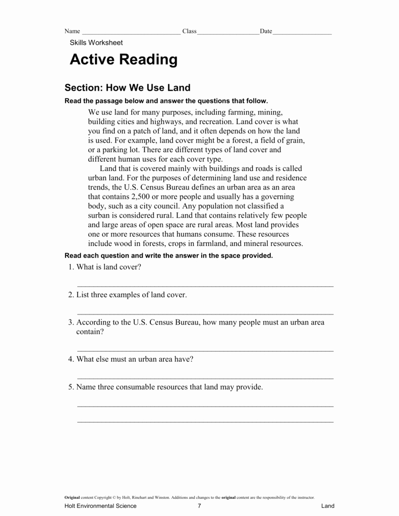 Skills Worksheet Active Reading New Ch 14 Active Reading