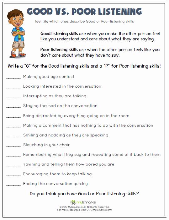 Skills Worksheet Active Reading New Good Vs Poor Listening Counseling Psr