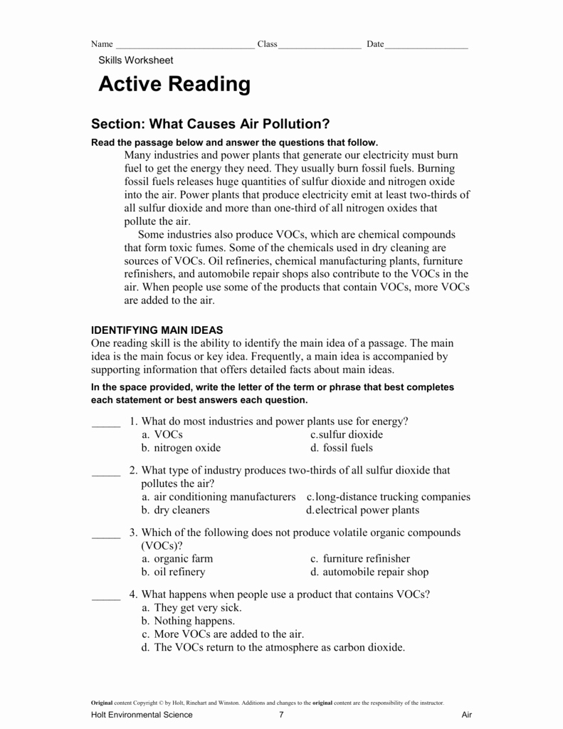 holt environmental science skills worksheet active reading answer key