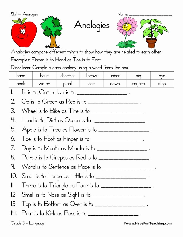 Skills Worksheet Critical Thinking Analogies Beautiful Analogy Worksheet Homework Help