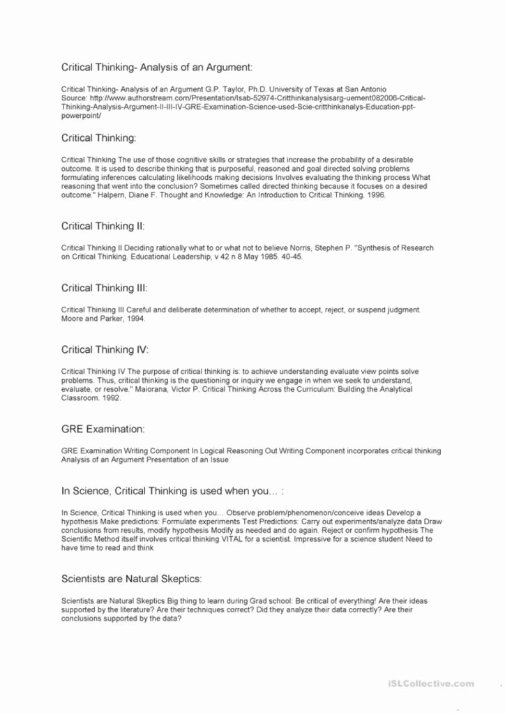 Skills Worksheet Critical Thinking Analogies Lovely Awesome Critical Thinking English Esl Worksheets which