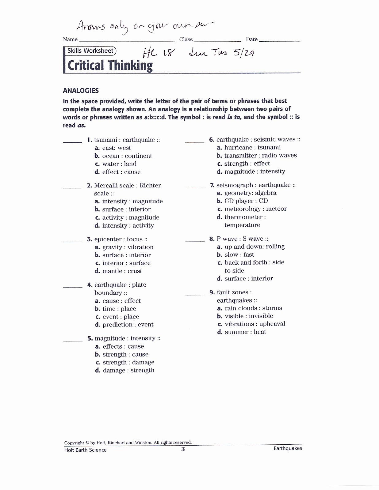 Skills Worksheet Critical Thinking Analogies Unique Critical Thinking 8th Grade