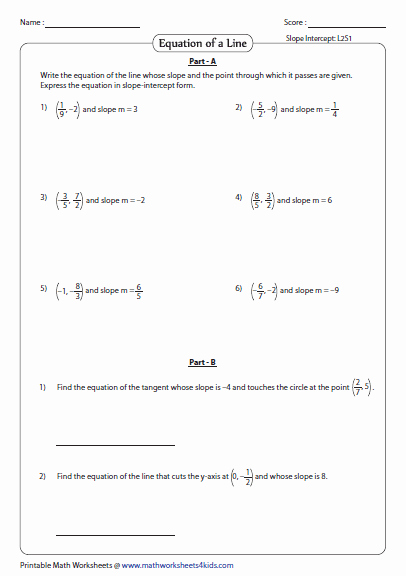 Slope Intercept form Worksheet Awesome Point Slope form Of Equation Of A Line Worksheets