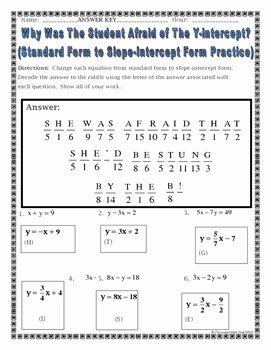 Slope Intercept form Worksheet Elegant Changing From Standard form to Slope Intercept Practice