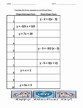 Slope Intercept form Worksheet Fresh 12 Best Education Algebra 1 Pt Slope Images On Pinterest