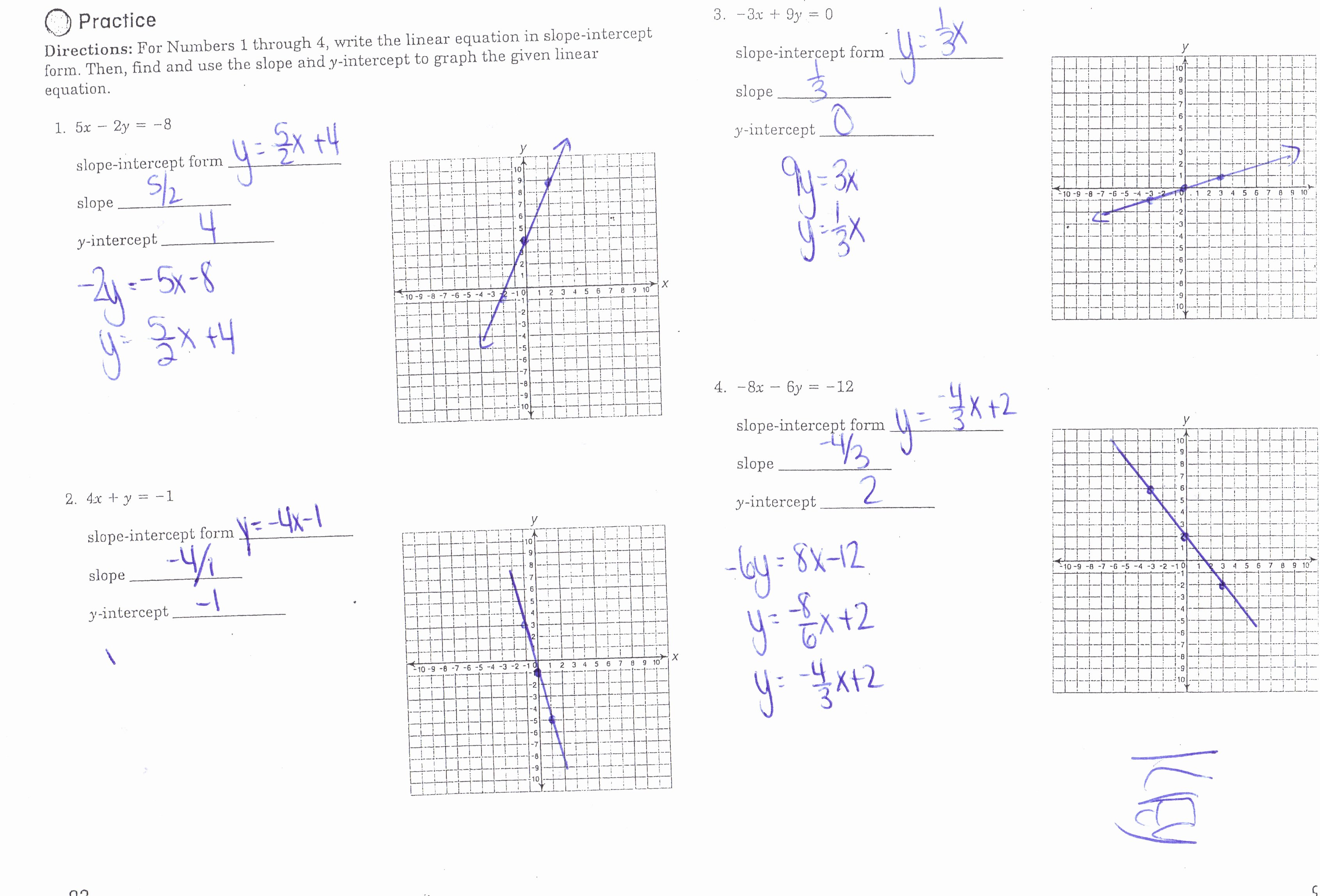 Slope Intercept form Worksheet Fresh Algebra I Honors Mrs Jenee Blanco Go Mustangs