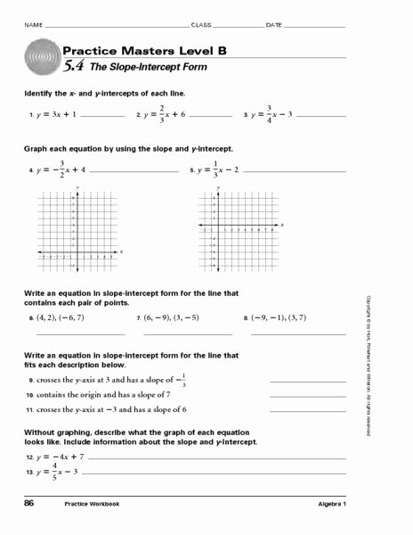 Slope Intercept form Worksheet Inspirational Masters Level B 5 4 the Slope Intercept form Worksheet