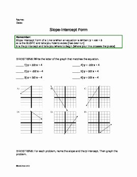 Slope Intercept form Worksheet Lovely Slope Intercept form Practice Worksheet by Sarah Price