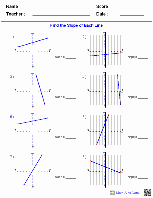 Slope Of A Line Worksheet Inspirational Pre Algebra Worksheets