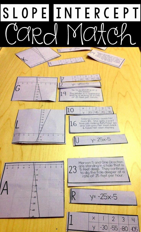 Slope Word Problems Worksheet Fresh Linear Equation Card Match Slope Intercept form