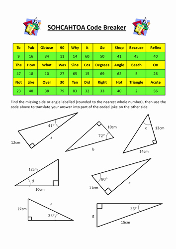 Soh Cah toa Worksheet Beautiful sohcahtoa Trigonometry Codebreaker by Dannytheref