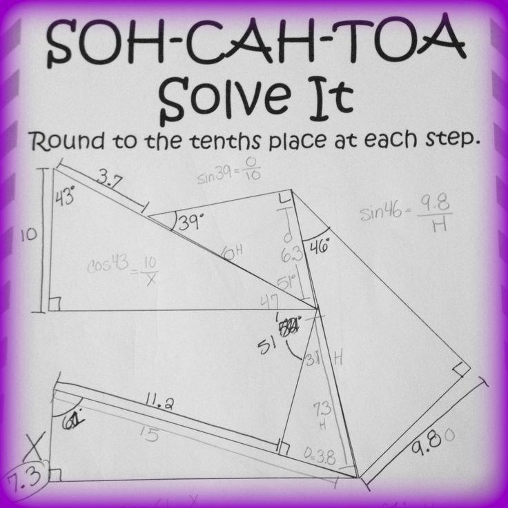 Soh Cah toa Worksheet Elegant soh Cah toa solve It 3 Sine Cosine & Tangent Puzzles