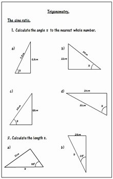 Soh Cah toa Worksheet Fresh Trigonometry Worksheets soh Cah toa by 123 Math