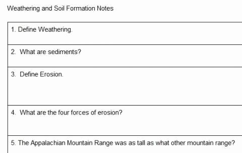 Soil formation Worksheet Answers Inspirational Weathering and soil formation Chapter Reading Worksheet