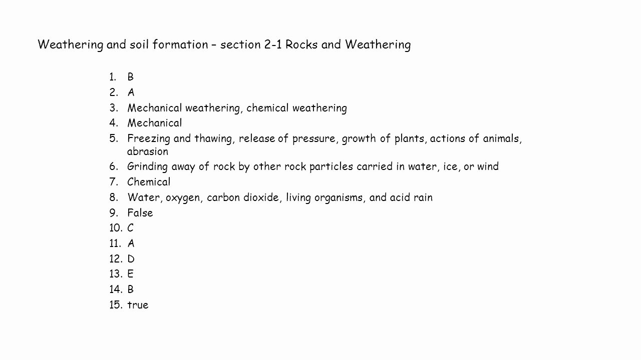 Soil formation Worksheet Answers Luxury Weathering and soil formation Worksheet Answers