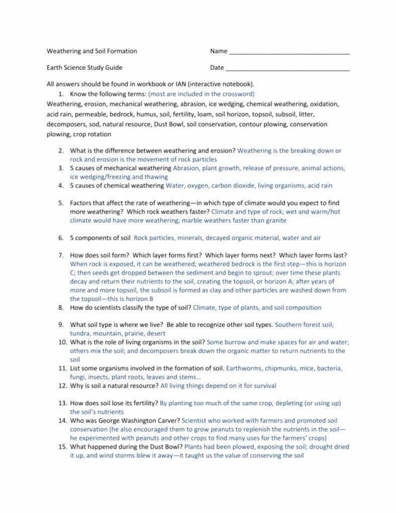 Soil formation Worksheet Answers New the Latest Template Of Weathering soil formation Sg Answer