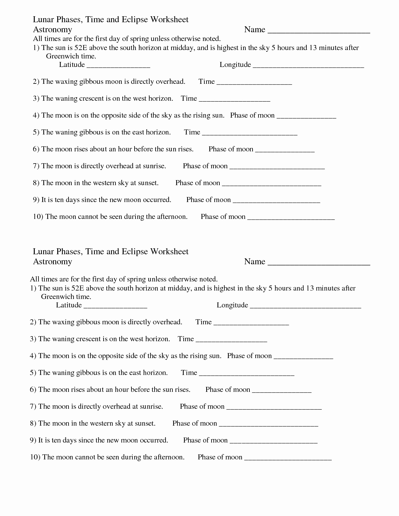 Solar and Lunar Eclipses Worksheet Awesome Moon Eclipses Worksheet for Middle School Moon Best Free