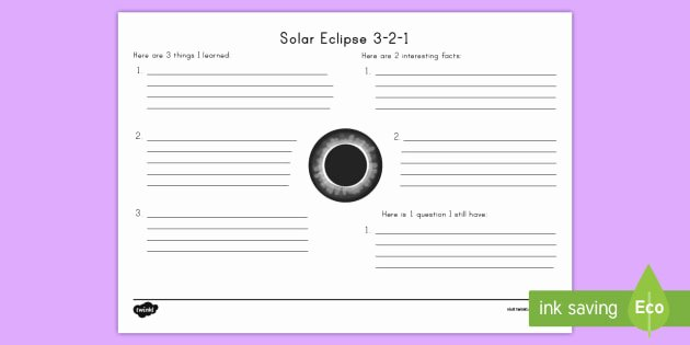 Solar and Lunar Eclipses Worksheet Awesome solar Eclipse 3 2 1 Worksheet Worksheet solar Eclipse