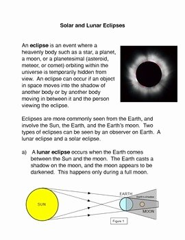 Solar and Lunar Eclipses Worksheet Beautiful solar and Lunar Eclipses by the Mon Core Marketplace