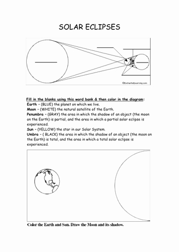 Solar and Lunar Eclipses Worksheet Beautiful Sun Earth Moon and solar Eclipse Resources by