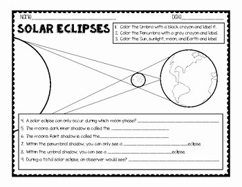 Solar and Lunar Eclipses Worksheet Best Of solar and Lunar Eclipse Diagrams Questions by