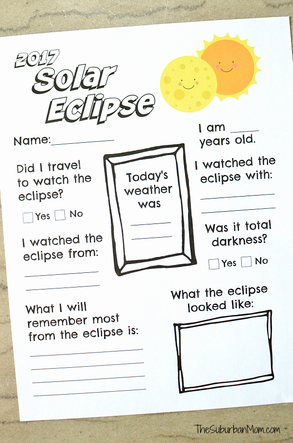 Solar and Lunar Eclipses Worksheet Elegant 2017 solar Eclipse Worksheet Printable the Suburban Mom