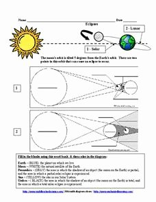 Solar and Lunar Eclipses Worksheet Elegant Eclipses Worksheet for 6th 9th Grade