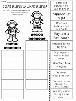 Solar and Lunar Eclipses Worksheet Fresh solar Eclipse or Lunar Eclipse Cut and Paste sorting