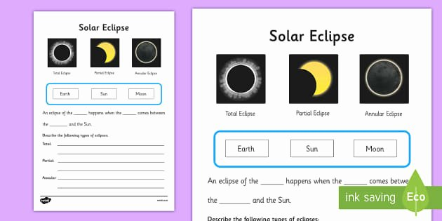 Solar and Lunar Eclipses Worksheet Fresh solar Eclipse Worksheet Worksheets Worksheet Work Sheet