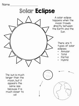 Solar and Lunar Eclipses Worksheet Luxury solar Eclipse Craft & Coloring Sheet by Ali Ryder