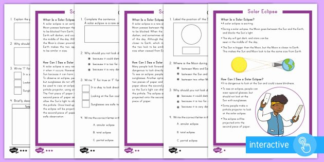 Solar and Lunar Eclipses Worksheet New solar Eclipse Differentiated Prehension Worksheet