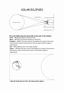 Solar and Lunar Eclipses Worksheet New Sun Earth Moon and solar Eclipse Resources by