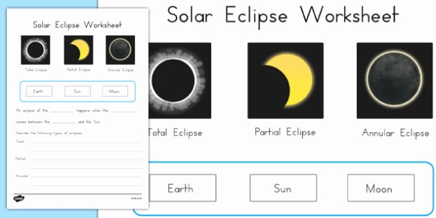 Solar and Lunar Eclipses Worksheet Unique solar Eclipse Worksheet Science Australia Space Sun Moon