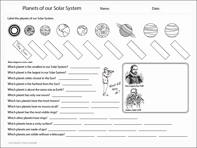 Solar System Worksheet Pdf Awesome Planets Of the solar System Worksheet Studyladder