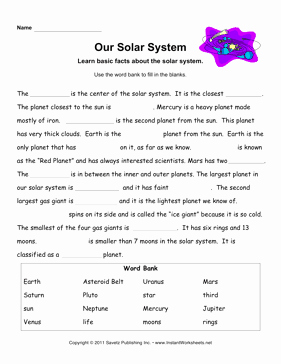 Solar System Worksheet Pdf Awesome solar System Facts