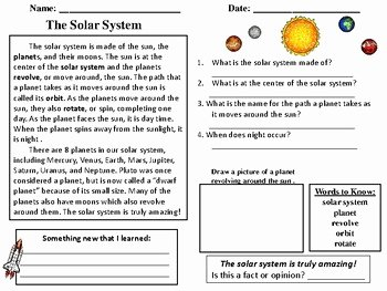 Solar System Worksheet Pdf Best Of solar System Reading Prehension Passage by Reading