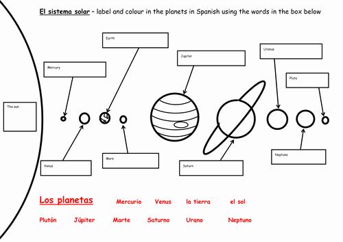 Solar System Worksheet Pdf Fresh El Sistema solar by Kerrymcc30