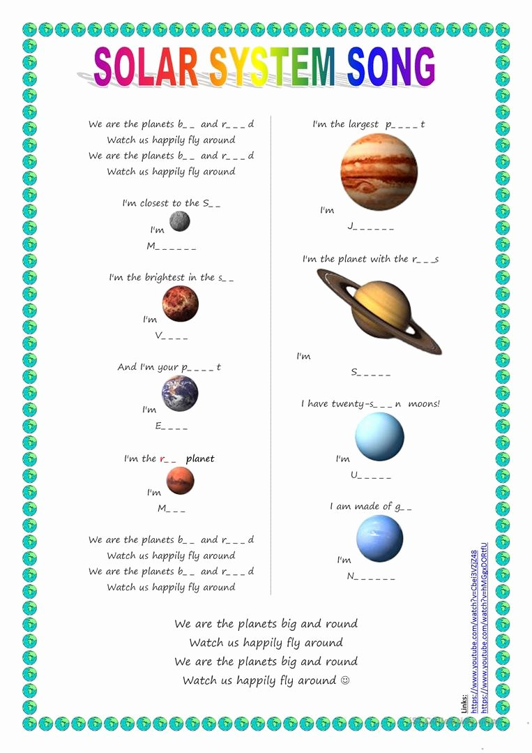 Solar System Worksheet Pdf Fresh solar System for Preschoolers Lesson Plans