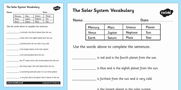 Solar System Worksheet Pdf Fresh solar System Vocabulary Worksheet solar System solar