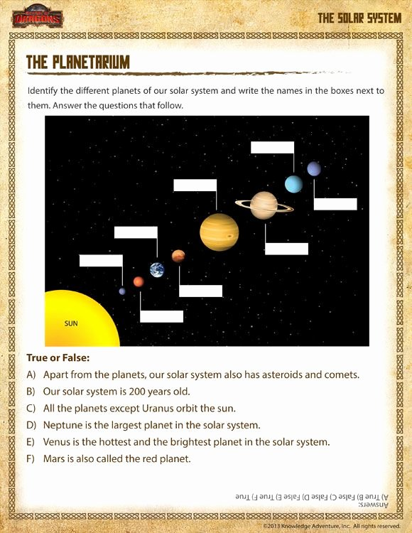 Solar System Worksheet Pdf Fresh the Planetarium Printable 1st Grade Science Worksheet