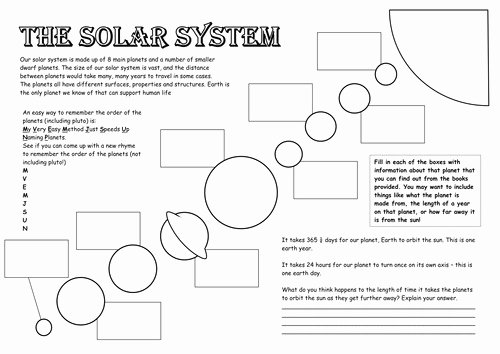 Solar System Worksheet Pdf Lovely solar System Worksheet
