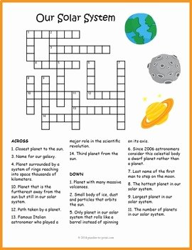 Solar System Worksheet Pdf New Our solar System Crossword Puzzle by Puzzles to Print