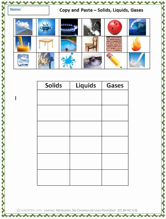 Solid Liquid Gas Worksheet Awesome Copy and Paste solids Liquids Gases