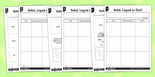 Solid Liquid Gas Worksheet Awesome solid Liquid or Gas Worksheet solids Liquids and Gases