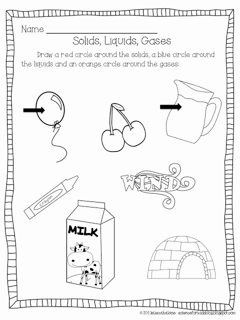 Solid Liquid Gas Worksheet Beautiful 11 Best Of solids Liquid Gases Elementary